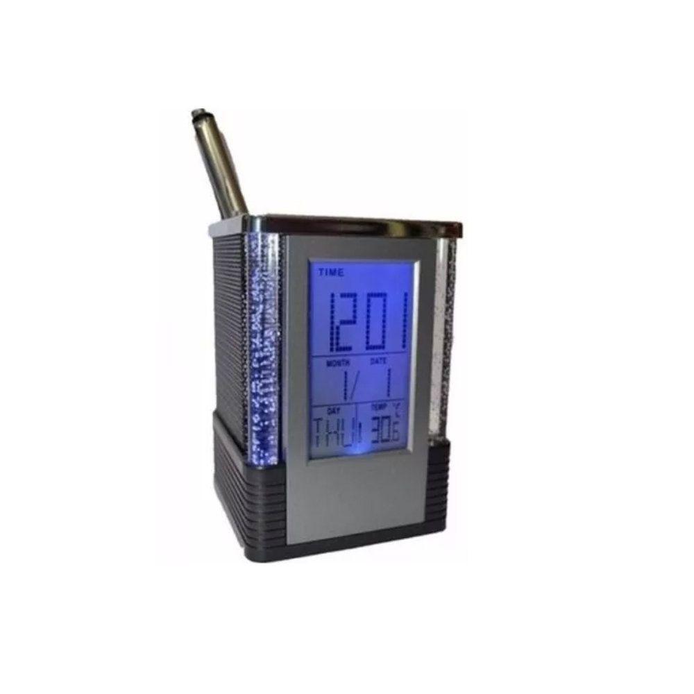 relógio porta caneta lapis termômetro calendário despertador