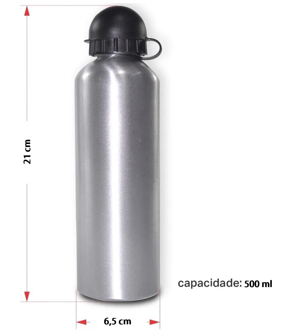 Squeeze Sublimação Garrafa Aluminio Prata 500ml