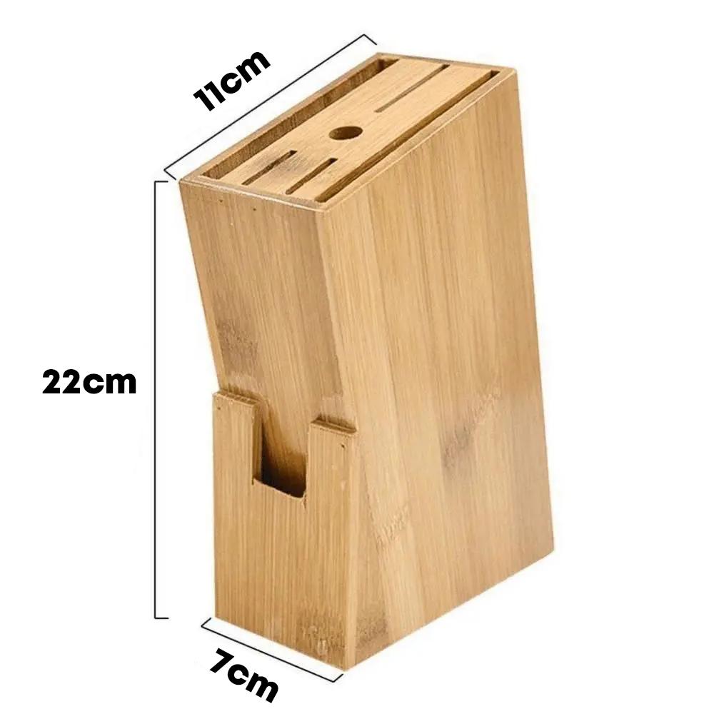 Suporte Cepo Bambu Organizador De Faca Tesouras Cozinha
