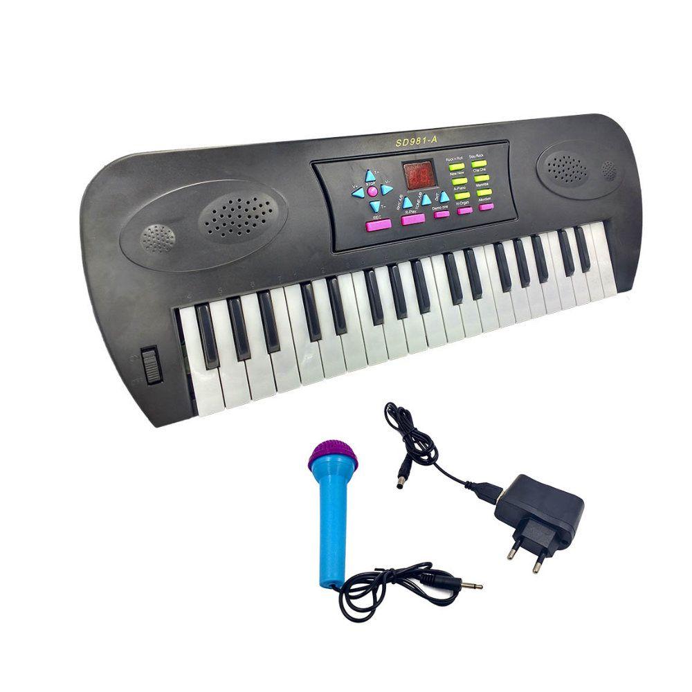 teclado infantil piano com microfone eletrônico 37 teclas