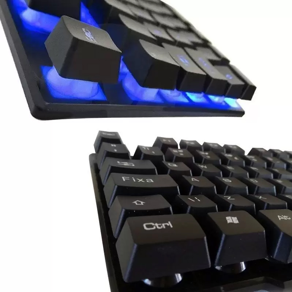 Teclado Multimídia Retroiluminado QWERTY K200 Gamer RGB