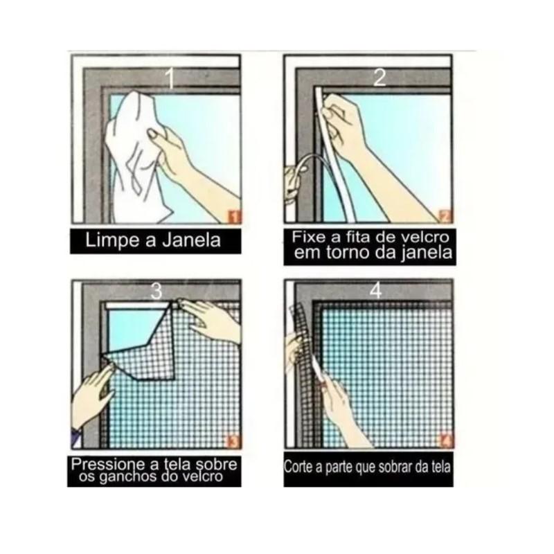 Tela Mosquiteira Pernilongo com velcro para janela 1,5x1,8m
