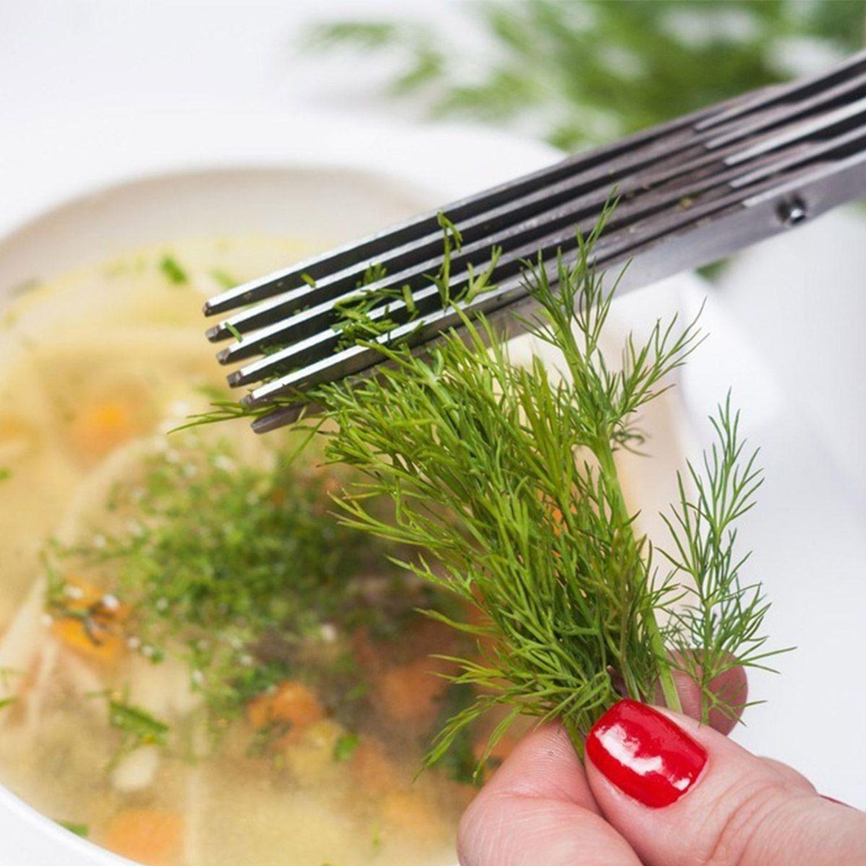Tesoura Cozinha Com 5 Lâminas Cortar Ervas Temperos Salada