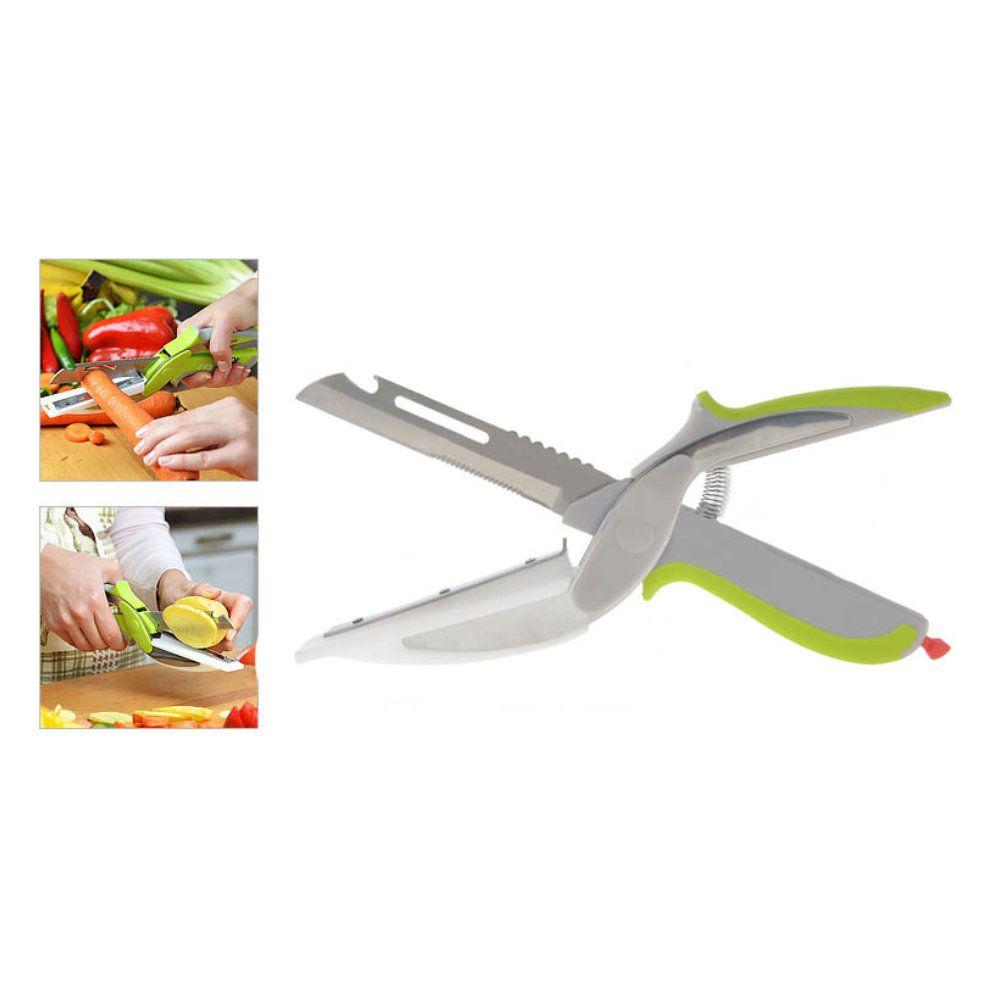 tesoura fatiador e cortador de legumes 6 em 1 lâmina inox