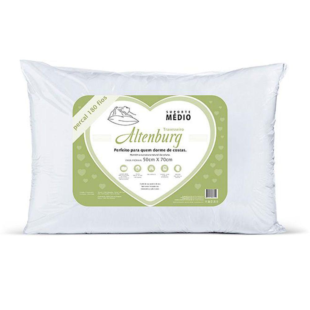 Travesseiro Suporte Médio 50x70 Não-Alérgico Antiácaro Antifungo Altenburg