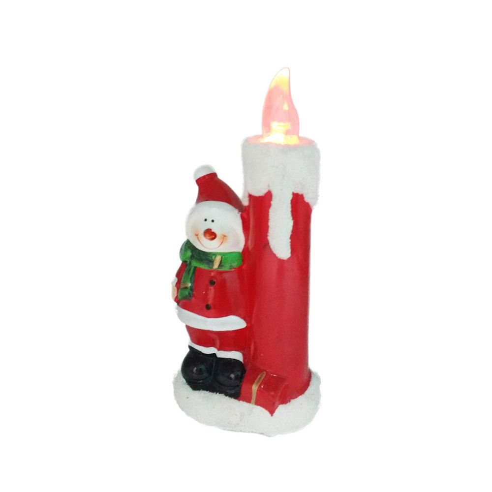 vela decorativa boneco de neve luz led em cerâmica 20 cm