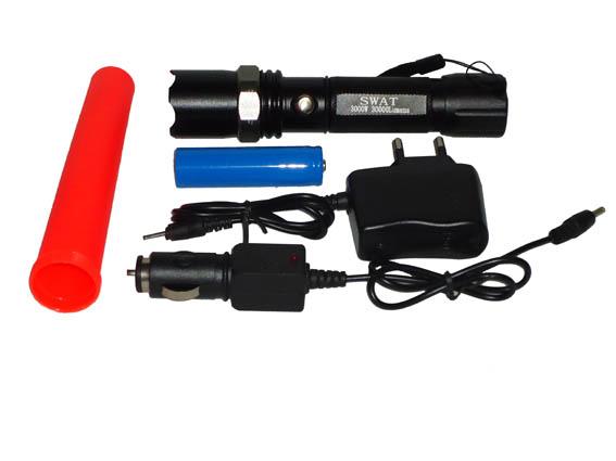 Lanterna Led tática + 3 acessórios