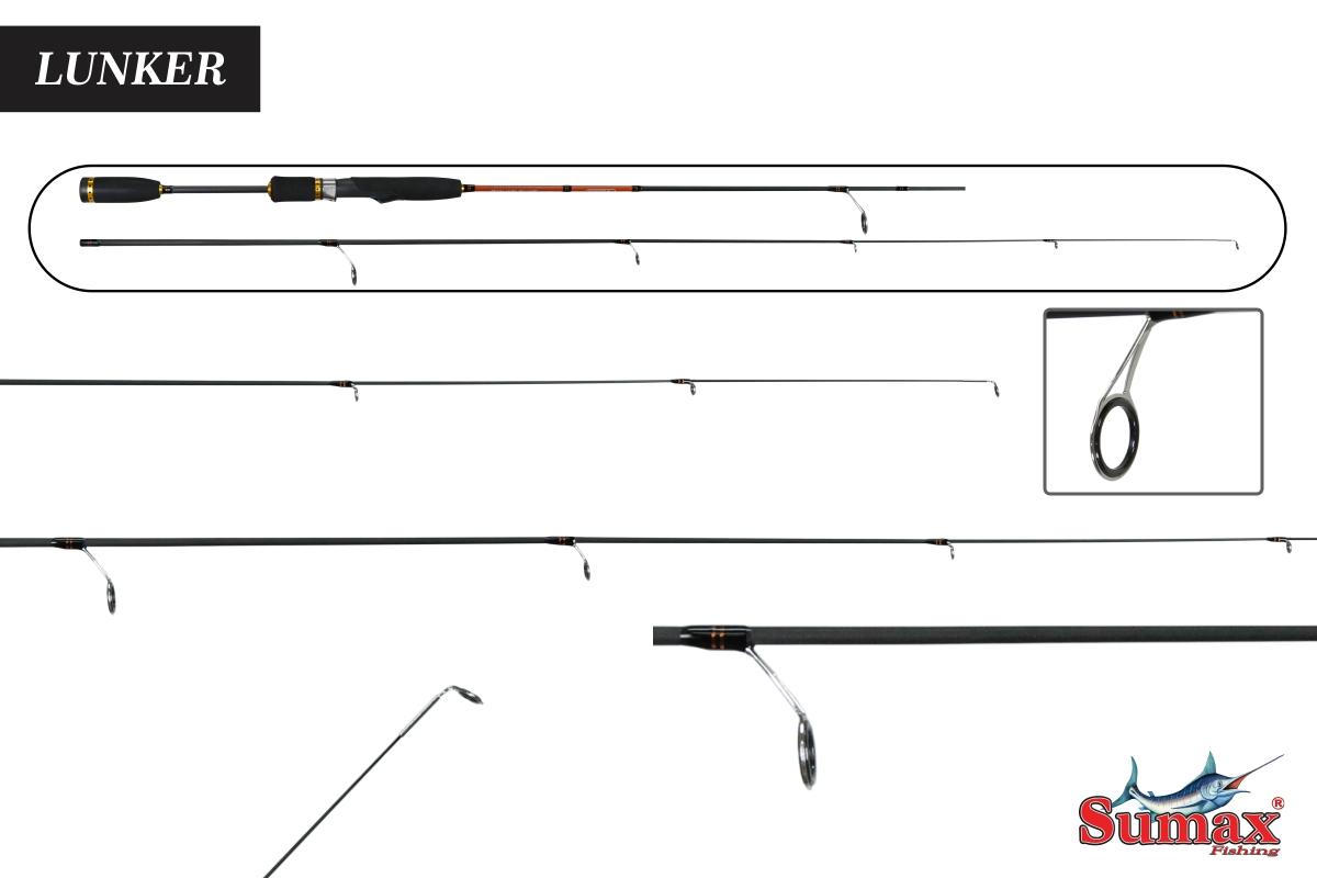 Vara Molinete Sumax Lunker SKR-180 1-4lbs - 1,80m - 2Partes - Carbono + TopSkin Brinde