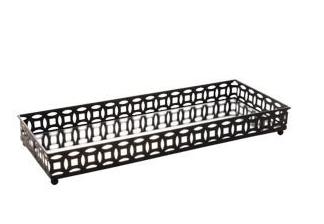 BANDEJA METAL COM ESPELHO SINGAPURA PRETA 30,5x11,5x4cm