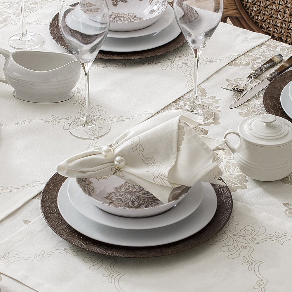 KIT 4 GUARDANAPOS DAMASK OFF WHITE