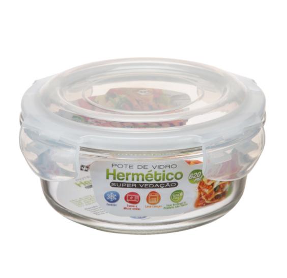 POTE VIDRO HERMÉTICO REDONDO 620 ML