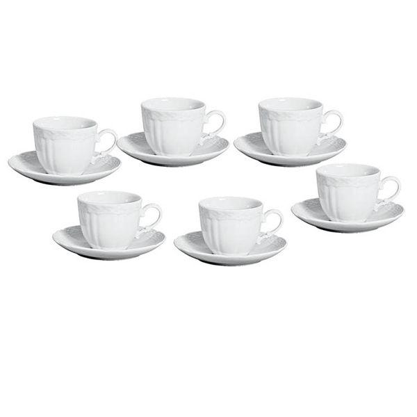 JOGO 6 XÍCARAS DE CAFÉ COM PIRES VANNA BRANCO