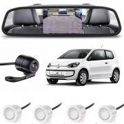 Kit sensor de estacionamento camera de ré retrovisor VW UP! branco