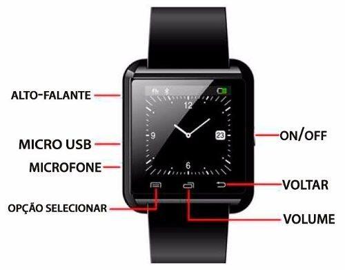202eca2d100 Relógio Smartwatch Smart Watch U8 Bluetooth Android Ios Samsung Iphone  Motorola LG