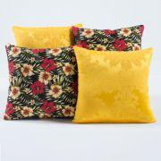 Almofadas Decorativas Amarelo Floral 04 Peças c/ Refil
