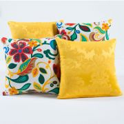 Almofadas Decorativas Amarelo Floral Colorido 04 Peças c/ Refil