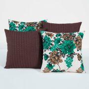 Almofadas Decorativas Tabaco/Verde 04 Peças c/ Refil