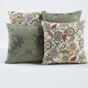 Almofadas Decorativas Verde Floral 04 Peças c/ Refil