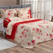 Cobre Leito Forest Floral Vermelho Solteiro Dupla Face Micropercal 200 fios 02 peças