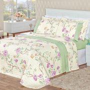 Cobre Leito Naturale Floral Verde Super King Dupla Face MicroPercal 200 Fios 03 peças