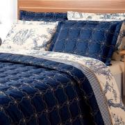 Cobre Leito Porcelana Azul Marinho Queen 03 Peças - Tecido Capri
