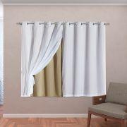 Cortina Blackout em Tecido Class c/ Voil Bege/Branco Corta Luz 2,80m x 1,60m