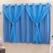 Cortina Blackout PVC c/ Voil Azul Corta Luz 2,80m X 1,60m