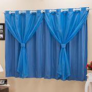 Cortina Blackout PVC c/ Voil Azul Corta Luz 2,80m X 1,80m