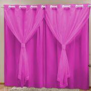 Cortina Blackout PVC c/ Voil Pink Corta Luz 2,80m X 2,30m