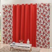 Cortina Floratta Vermelho 3,00m x 2,50m p/ Varão Simples