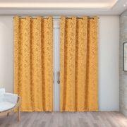 Cortina Jacquard Dourado 2,80m X 2,30m p/ Varão simples de até 2,00m