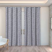 Cortina Jacquard Prata 2,80m X 2,30m p/ Varão simples de até 2,00m
