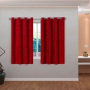 Cortina Jacquard Vermelho 2,80m X 1,60m p/ Varão simples de até 2,00m