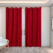 Cortina Jacquard Vermelho 2,80m X 2,30m p/ Varão simples de até 2,00m
