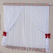 Cortina Melancia Branco c/ Voil 2,00m x 1,70m p/ Varão Simples