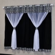 Cortina Mosaico Preto/Branco c/ Voil 2,00m x 1,70m p/ Varão Simples