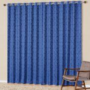 Cortina Nobre Jacquard Azul 3,00m x 2,50m p/ Varão Simples