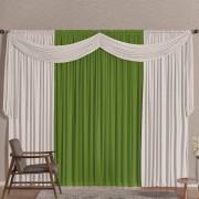 Cortina Versatty Verde/Branco 2,00m X 1,70m p/ Varão Simples