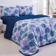 Edredom Basic Floral Azul Marinho Queen Dupla Face - Malha 100% Algodão
