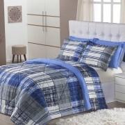 Edredom Monschau Azul Casal 03 Peças Dupla Face 120 Fios