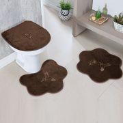 Jogo de Banheiro Premium Formato Beija-Flor Café 03 Peças