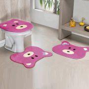 Jogo de Banheiro Premium Formato Ursa Pink 03 Peças