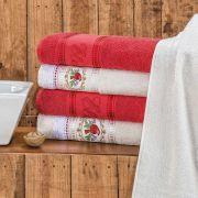 Jogo de Banho Ponto Russo Vermelho 370 g/m² 100% Algodão 05 Peças