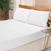 Jogo de Cama Elegance Branco Casal Percal 180 Fios 03 Peças