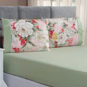 Jogo de Cama Forest Floral Verde/Rosê King Micropercal 200 Fios 03 Peças