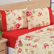 Jogo de Cama Forest Floral Vermelho Casal Micropercal 200 Fios 04 Peças