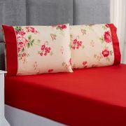 Jogo de Cama Forest Floral Vermelho Queen Micropercal 200 Fios 03 Peças
