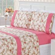 Jogo de Cama Naturale Floral Rosa Queen Micropercal 200 Fios 04 Peças