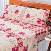 Jogo de Cama Requinte Rosa Queen Percal 180 Fios 04 Peças