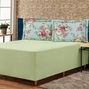 Jogo de Lençol p/ Cama Box Complet Floral Verde/Pink Casal 03 Peças - Percal 140 Fios